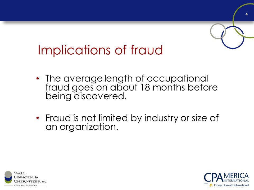 Implications of fraud The average length of occupational fraud goes on about 18 months before being discovered.