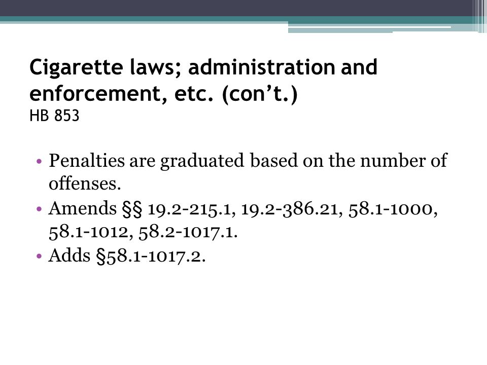 Cigarette laws; administration and enforcement, etc. (con't.) HB 853 Penalties are graduated based on the number of offenses. Amends §§ 19.2-215.1, 19