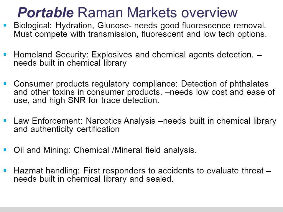 Portable Raman Markets overview Cont.
