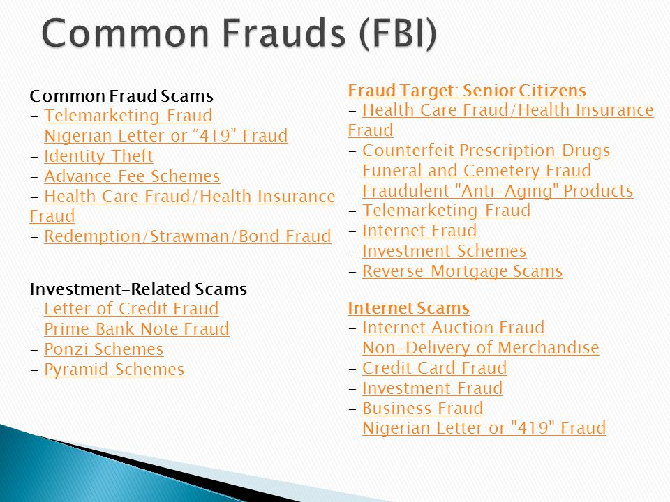 Fraud Target: Senior Citizens Fraud Target: Senior Citizens - Health Care Fraud/Health Insurance Fraud - Counterfeit Prescription Drugs - Funeral and