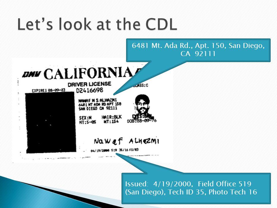 6481 Mt. Ada Rd., Apt. 150, San Diego, CA 92111 Issued: 4/19/2000, Field Office 519 (San Diego), Tech ID 35, Photo Tech 16