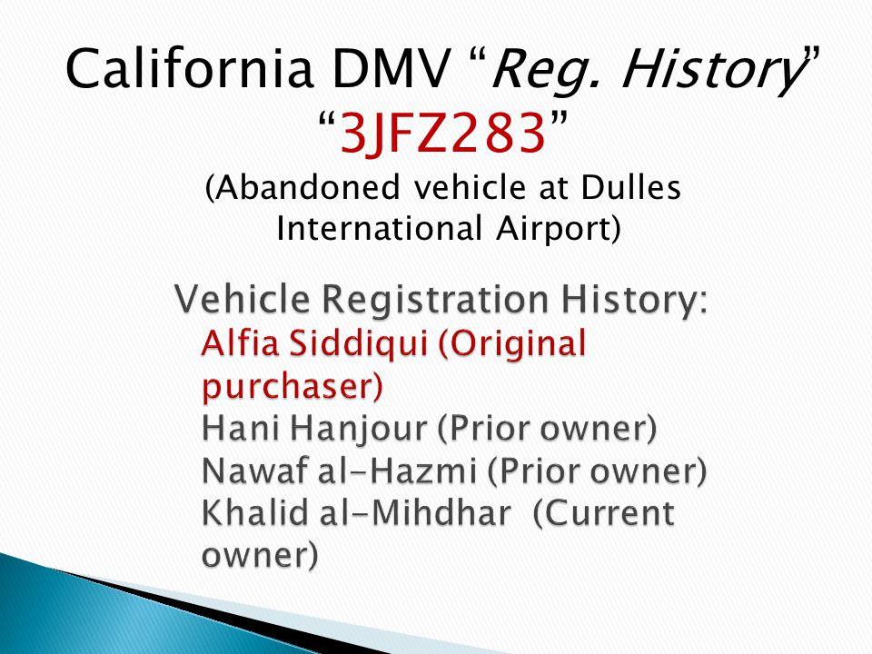 "California DMV ""Reg. History"" ""3JFZ283"" (Abandoned vehicle at Dulles International Airport)"