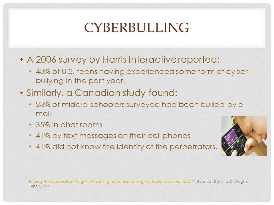 CYBERBULLING A 2006 survey by Harris Interactive reported: 43% of U.S. teens having experienced some form of cyber- bullying in the past year. Similar