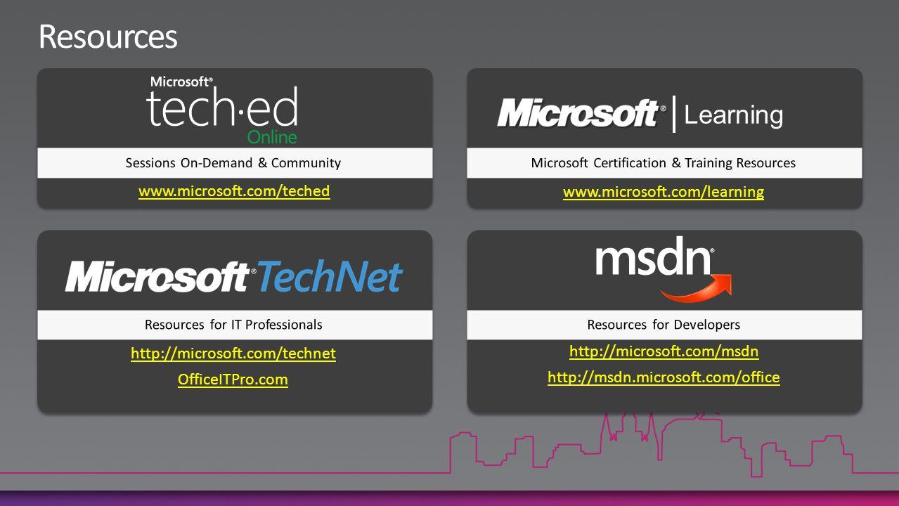 www.microsoft.com/teched www.microsoft.com/learning http://microsoft.com/technet OfficeITPro.com http://microsoft.com/msdn http://msdn.microsoft.com/office