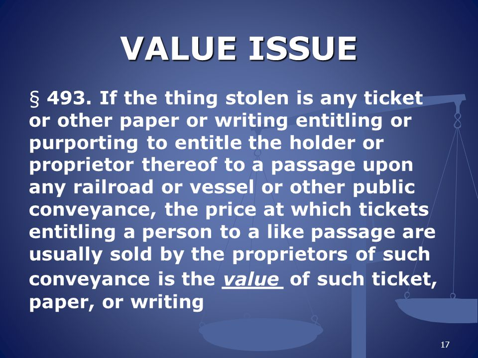 VALUE ISSUE § 493.