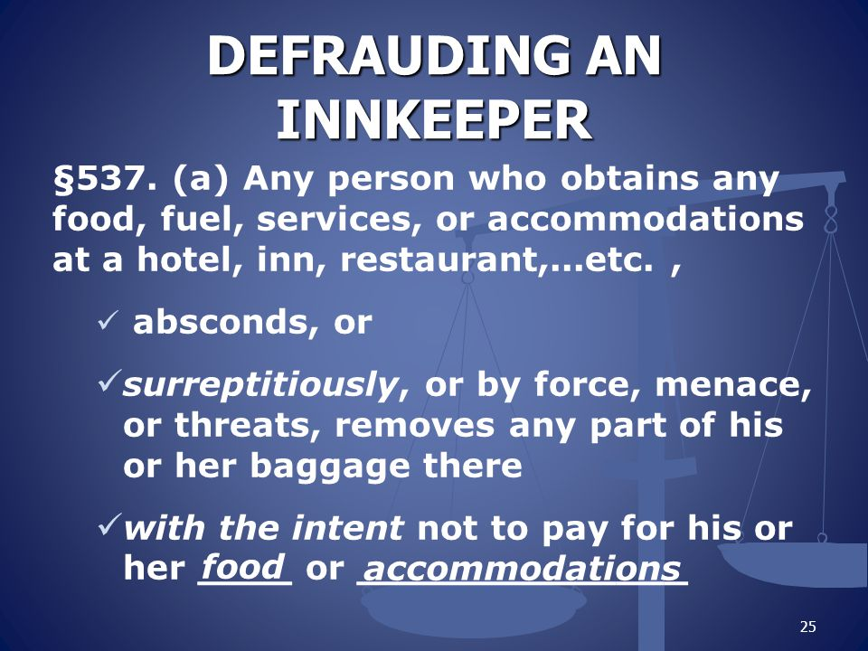 DEFRAUDING AN INNKEEPER §537.