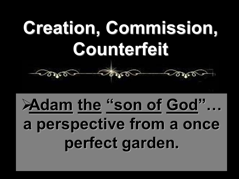  Adam the son of God … a perspective from a once perfect garden.