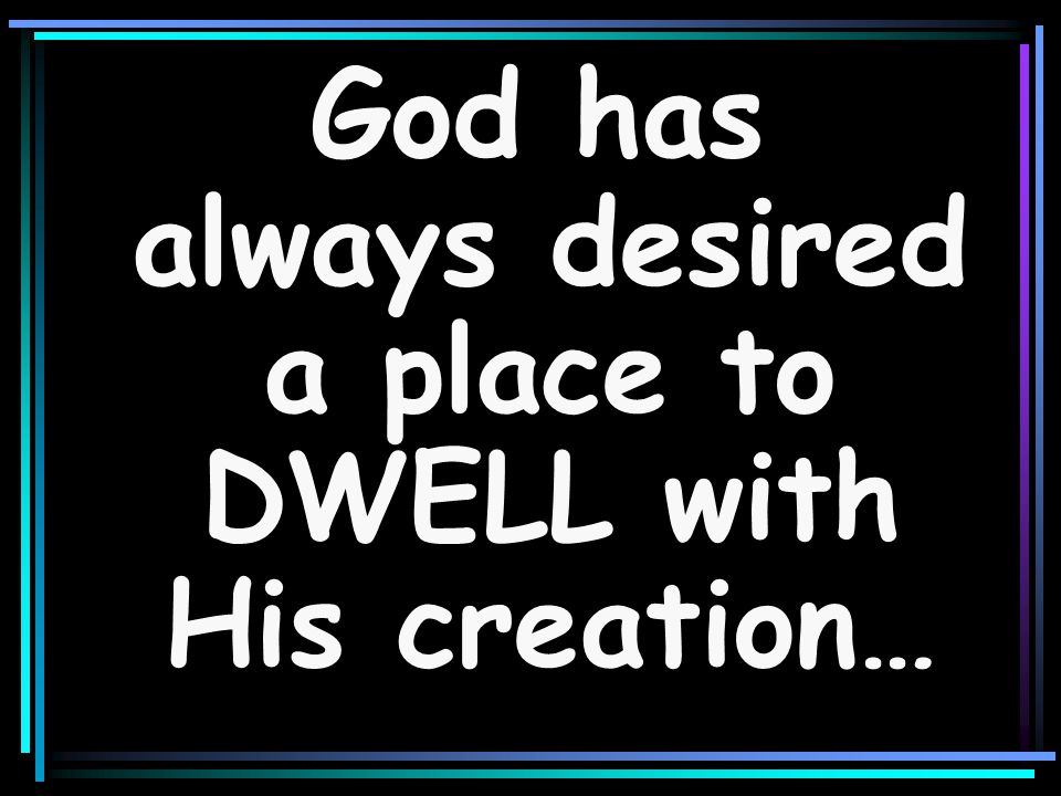 God has always desired a place to DWELL with His creation…