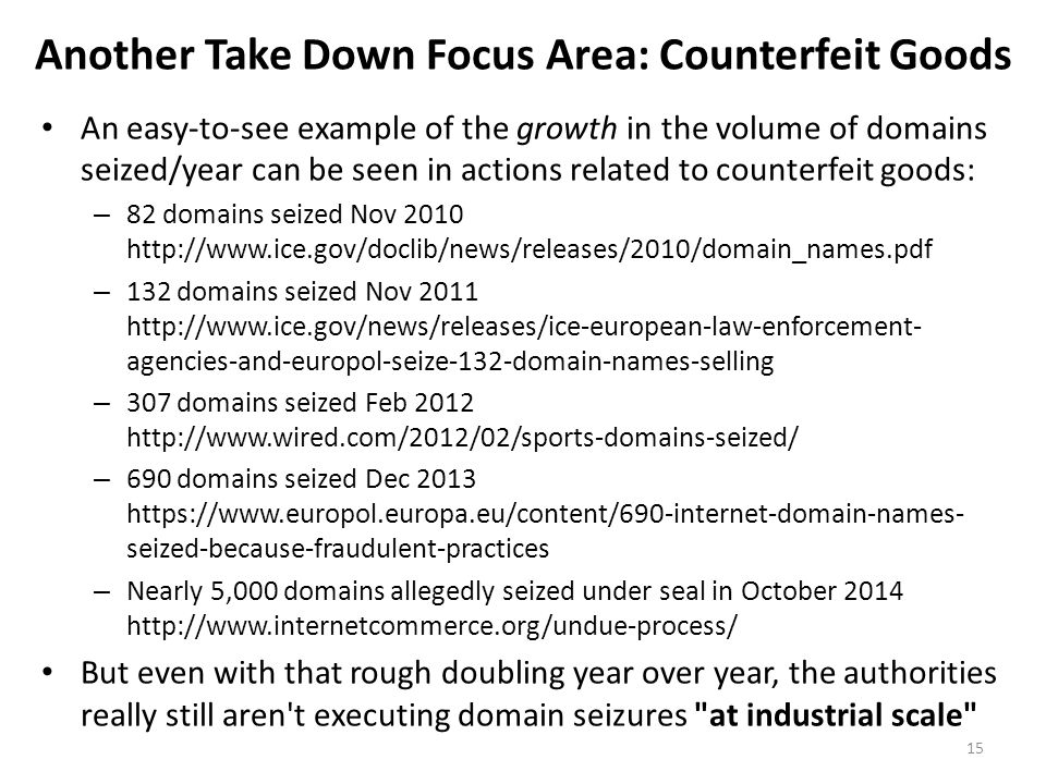 Another Take Down Focus Area: Counterfeit Goods An easy-to-see example of the growth in the volume of domains seized/year can be seen in actions relat