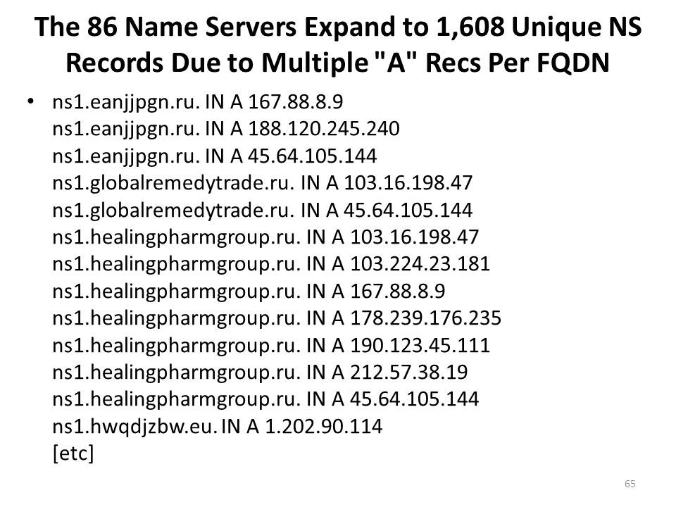 The 86 Name Servers Expand to 1,608 Unique NS Records Due to Multiple