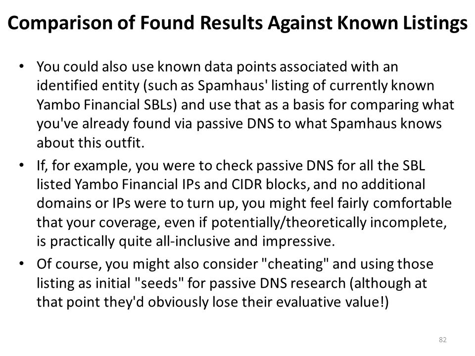 Comparison of Found Results Against Known Listings You could also use known data points associated with an identified entity (such as Spamhaus' listin