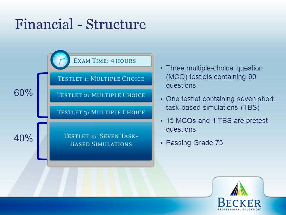Financial - Structure 60% 40% Three multiple-choice question (MCQ) testlets containing 90 questions One testlet containing seven short, task-based sim