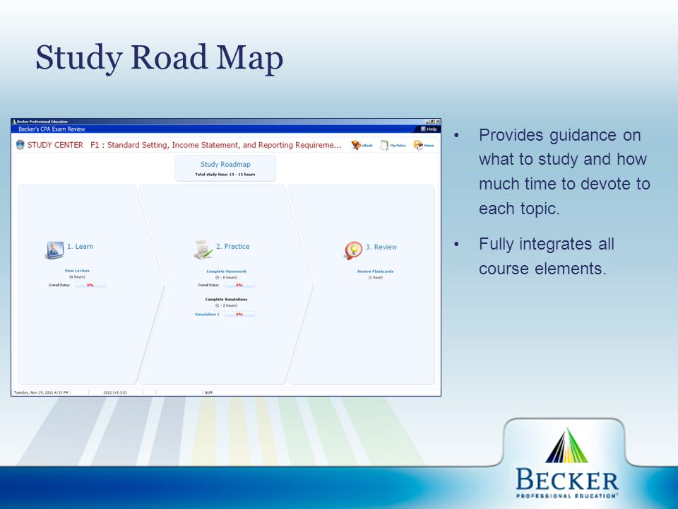 Study Road Map Provides guidance on what to study and how much time to devote to each topic. Fully integrates all course elements.