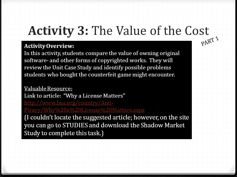 Activity 3: The Value of the Cost PART 1 Activity Overview: In this activity, students compare the value of owning original software- and other forms
