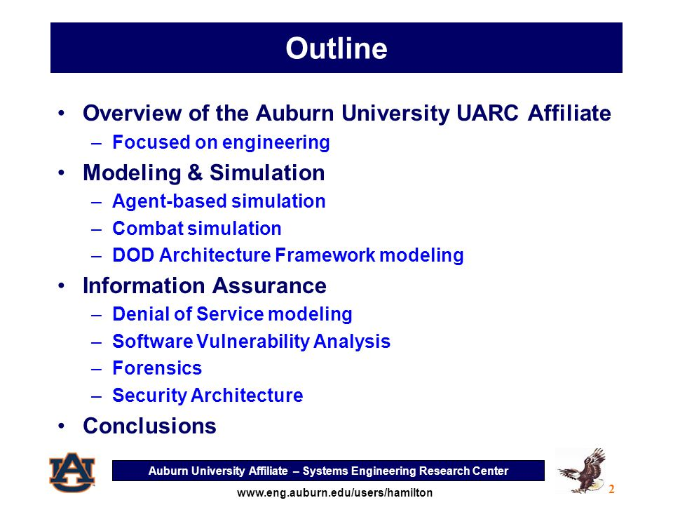 Auburn University Affiliate – Systems Engineering Research Center 3 www.eng.auburn.edu/users/hamilton Overview of Auburn's Strengths Focused on Engineering –Auburn UARC Team is highly technical –Access to outstanding management expertise –AU Management ranked in top 30 of US universities in research productivity, 9 endowed chairs Strong culture of multidisciplinary research Conducts classified research Critical mass of faculty and students who are U.S.
