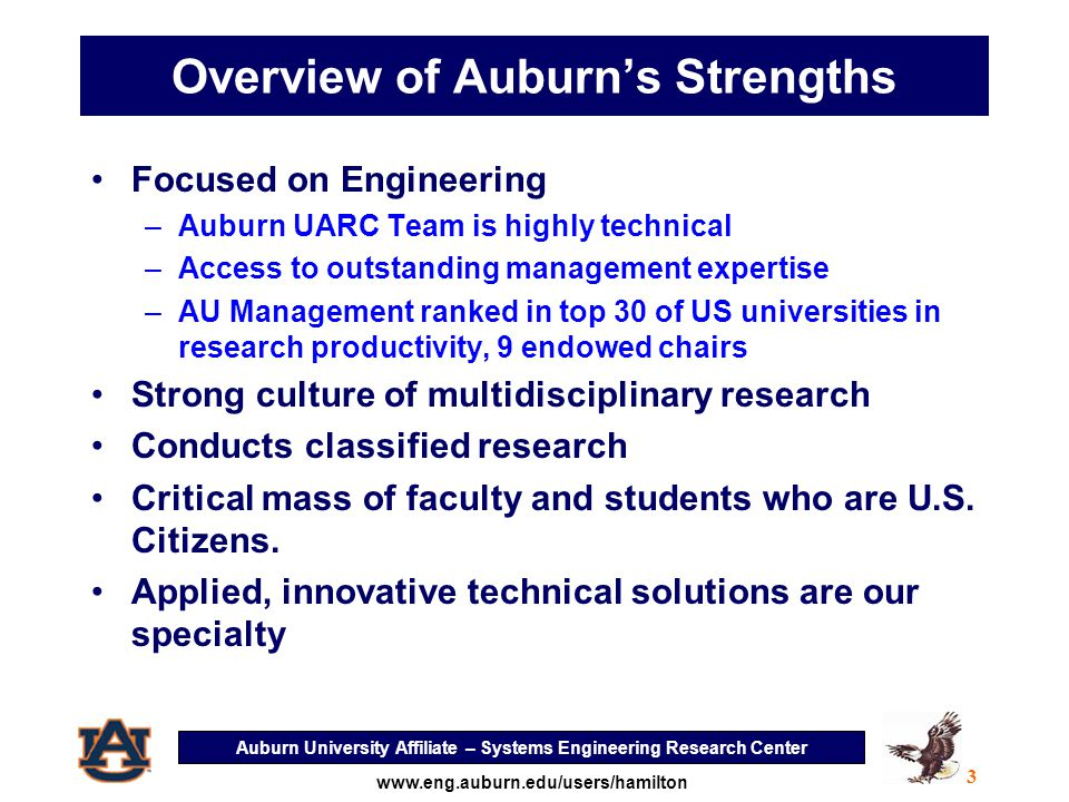 Auburn University Affiliate – Systems Engineering Research Center 14 www.eng.auburn.edu/users/hamilton What happens when multiple systems operate in the same vicinity?