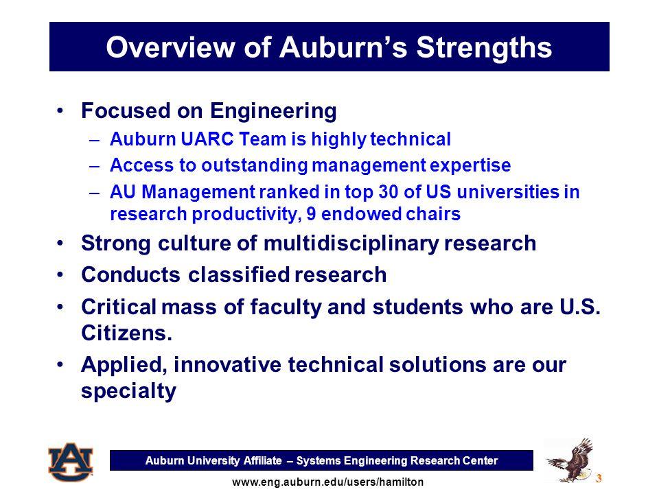 Auburn University Affiliate – Systems Engineering Research Center 4 www.eng.auburn.edu/users/hamilton Current & Recent Relevant Funding Sources U.S.