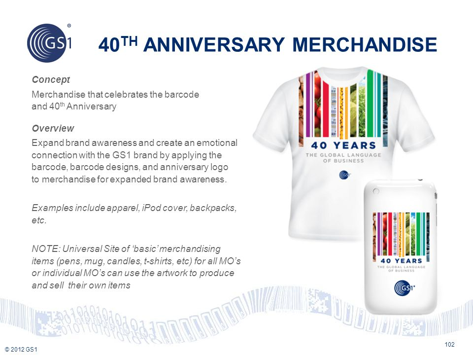 © 2012 GS1 40 TH ANNIVERSARY MERCHANDISE 102 Concept Merchandise that celebrates the barcode and 40 th Anniversary Overview Expand brand awareness and