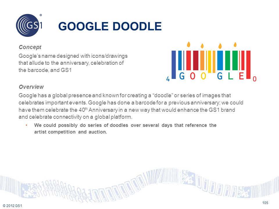 © 2012 GS1 Concept Google's name designed with icons/drawings that allude to the anniversary, celebration of the barcode, and GS1 Overview Google has