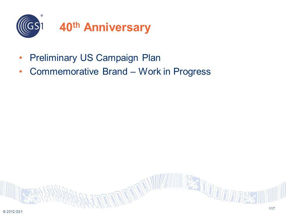 © 2012 GS1 40 th Anniversary 117 Preliminary US Campaign Plan Commemorative Brand – Work in Progress