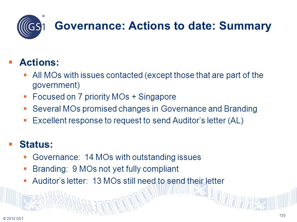 © 2012 GS1 Governance: Actions to date: Summary 130  Actions:  All MOs with issues contacted (except those that are part of the government)  Focuse