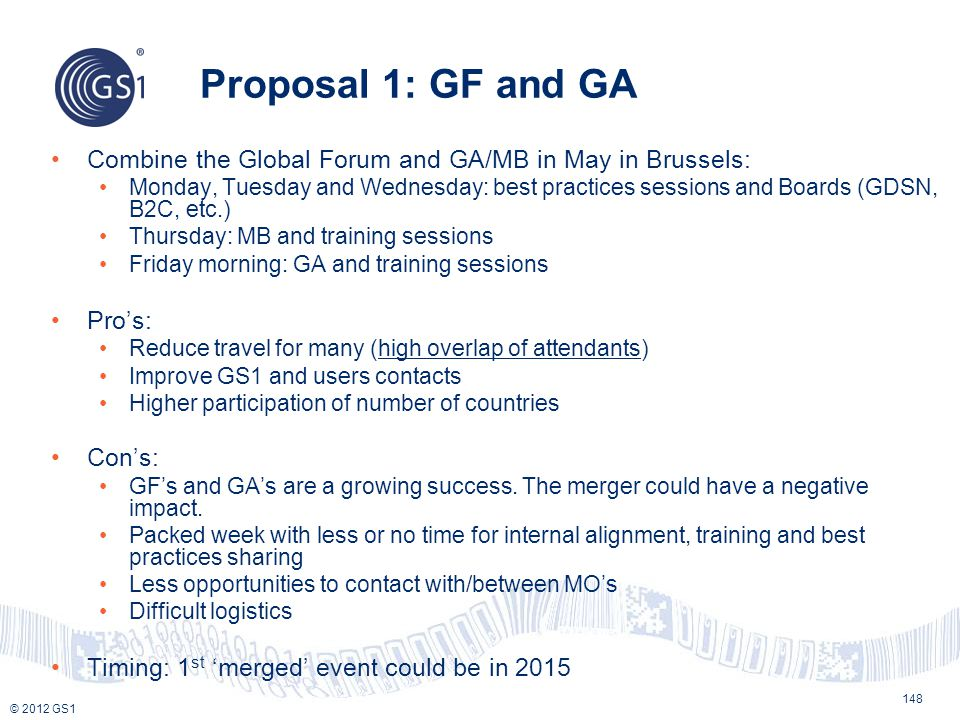 © 2012 GS1 Proposal 1: GF and GA 148 Combine the Global Forum and GA/MB in May in Brussels: Monday, Tuesday and Wednesday: best practices sessions and