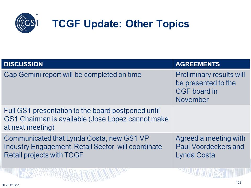 © 2012 GS1 TCGF Update: Other Topics 162 DISCUSSIONAGREEMENTS Cap Gemini report will be completed on timePreliminary results will be presented to the