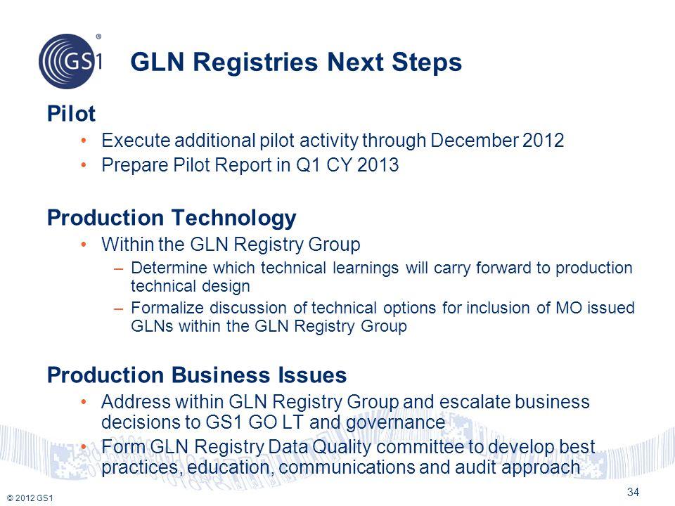 © 2012 GS1 GLN Registries Next Steps Pilot Execute additional pilot activity through December 2012 Prepare Pilot Report in Q1 CY 2013 Production Techn