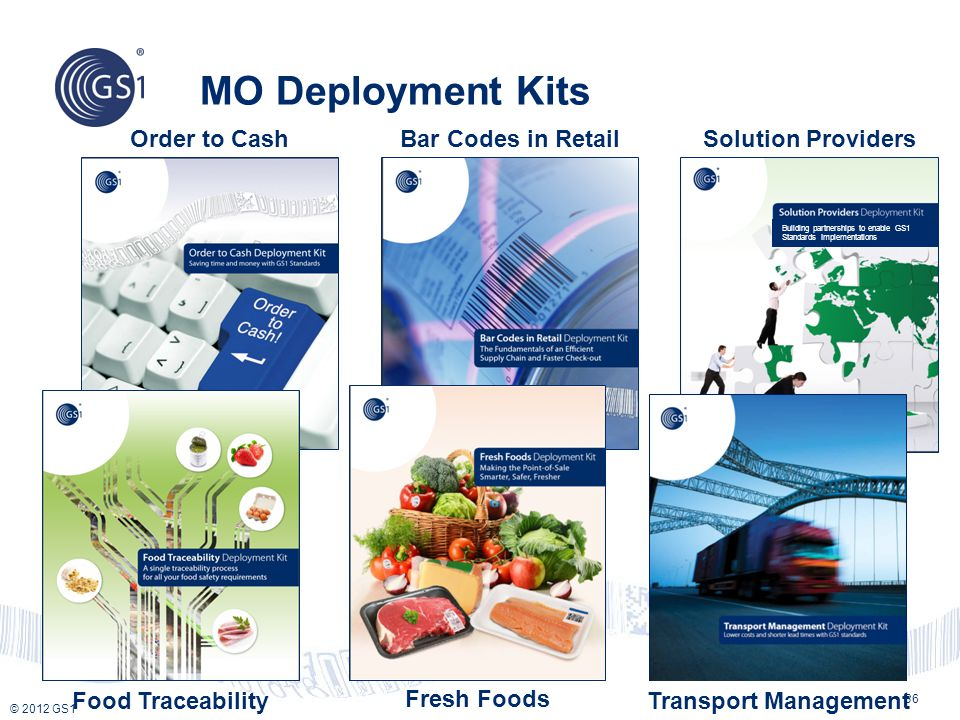 © 2012 GS1 MO Deployment Kits Food Traceability Bar Codes in Retail Fresh Foods Building partnerships to enable GS1 Standards Implementations Order to