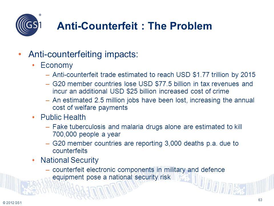 © 2012 GS1 Anti-Counterfeit : The Problem 63 Anti-counterfeiting impacts: Economy –Anti-counterfeit trade estimated to reach USD $1.77 trillion by 201