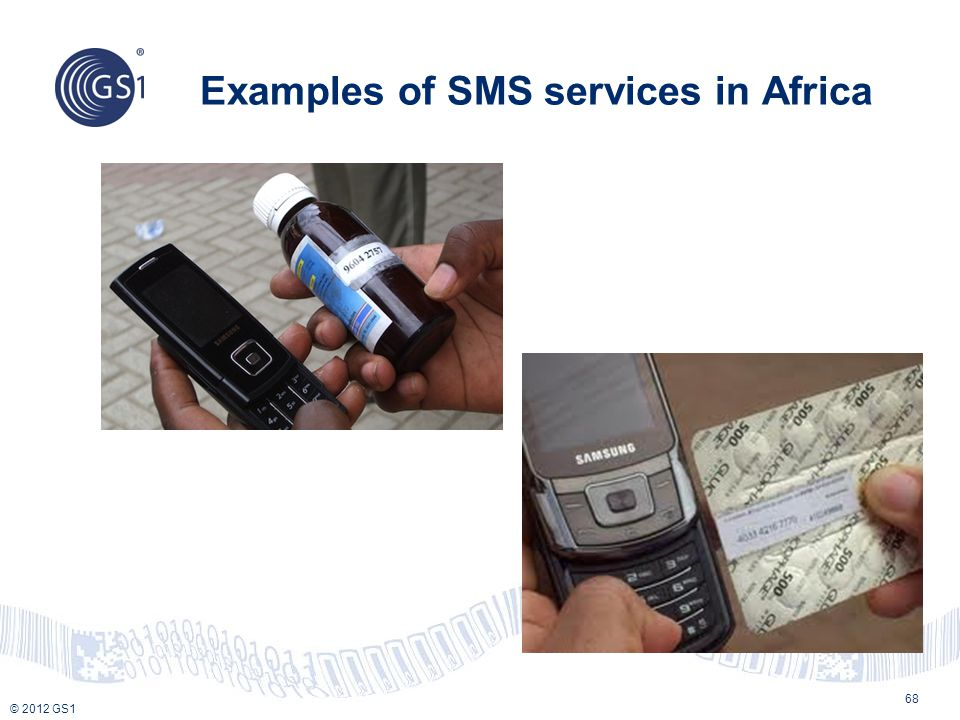 © 2012 GS1 Examples of SMS services in Africa 68