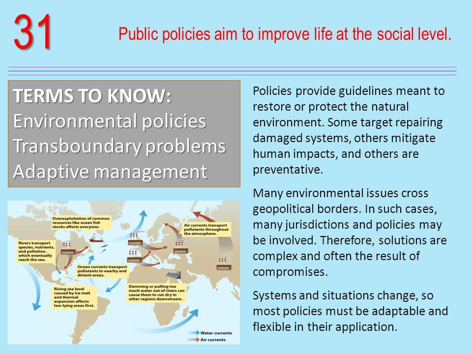 31 Public policies aim to improve life at the social level.