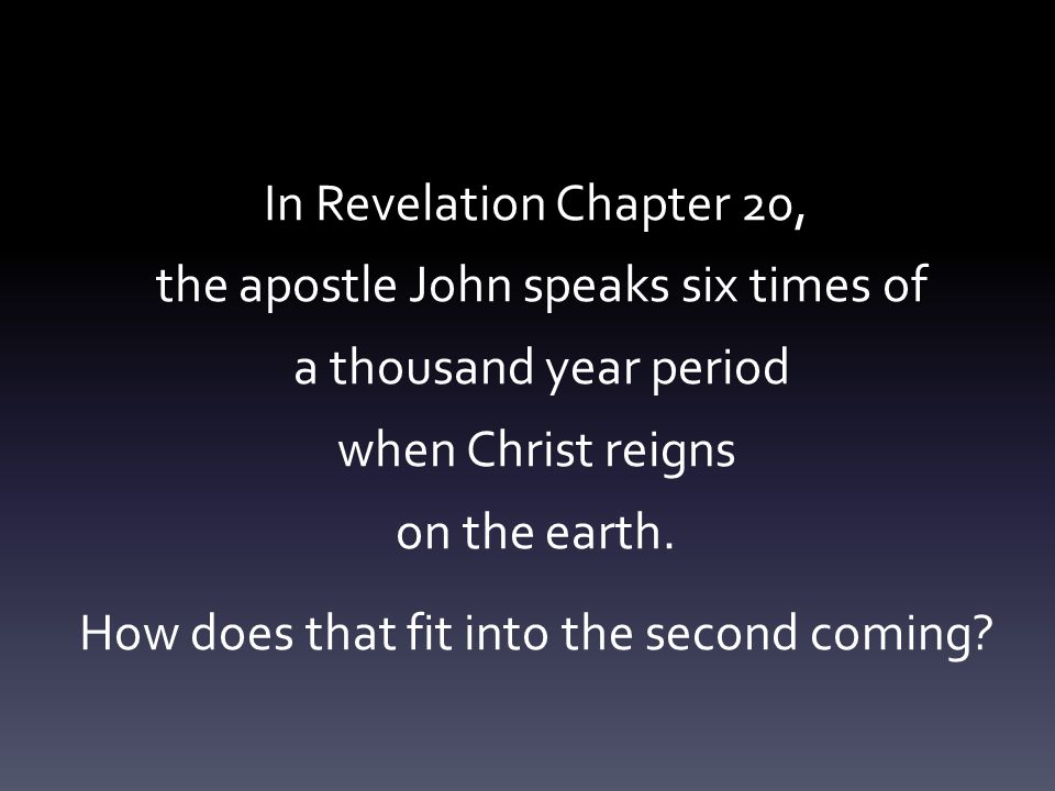 In Revelation Chapter 20, the apostle John speaks six times of a thousand year period when Christ reigns on the earth.