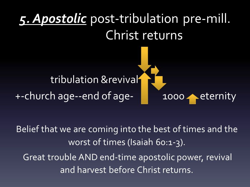 5. Apostolic post-tribulation pre-mill.