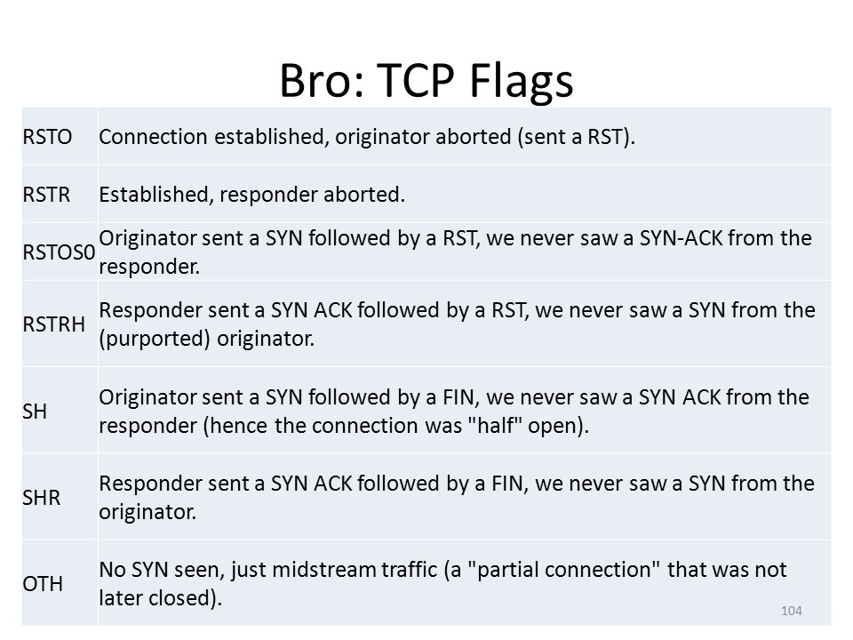 Bro: TCP Flags RSTOConnection established, originator aborted (sent a RST).