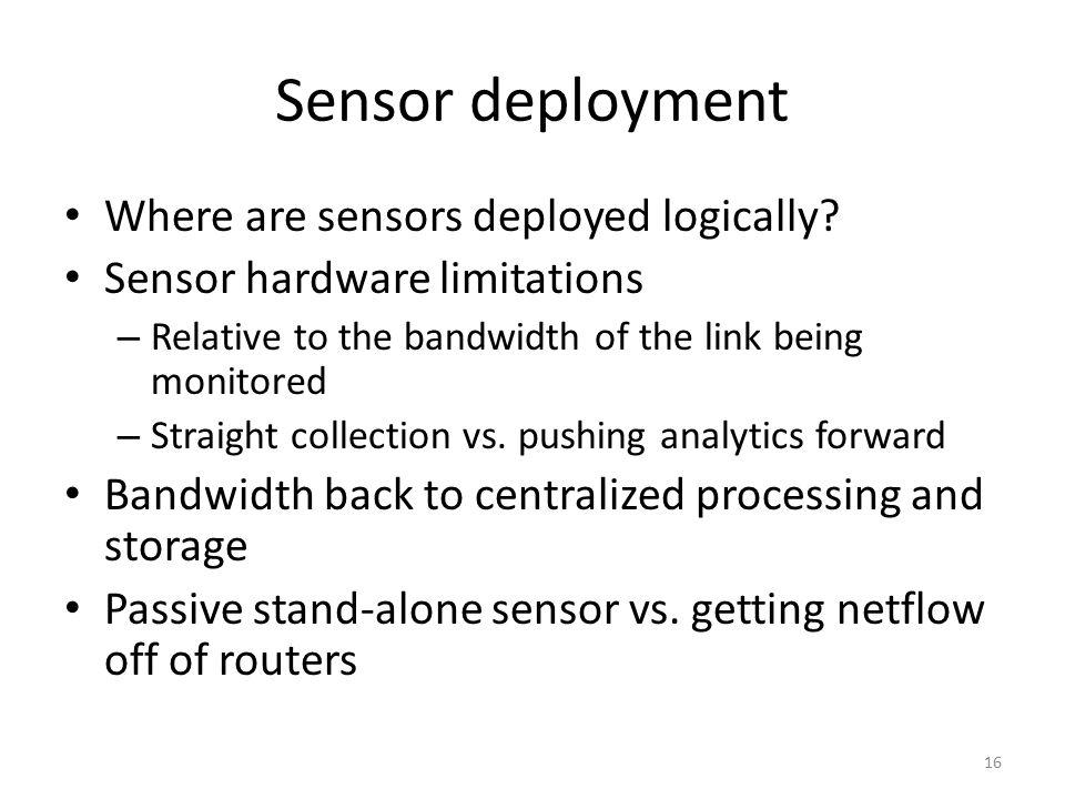 Sensor deployment Where are sensors deployed logically.