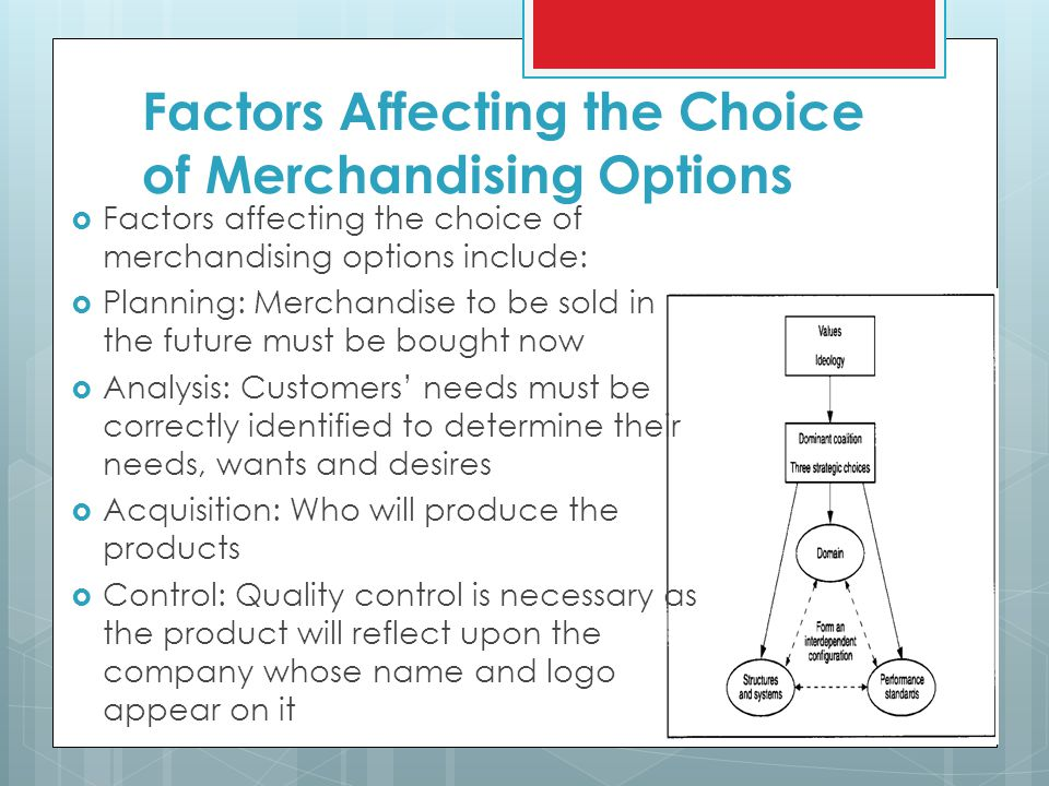 Factors Affecting the Choice of Merchandising Options  Factors affecting the choice of merchandising options include:  Planning: Merchandise to be sold in the future must be bought now  Analysis: Customers' needs must be correctly identified to determine their needs, wants and desires  Acquisition: Who will produce the products  Control: Quality control is necessary as the product will reflect upon the company whose name and logo appear on it