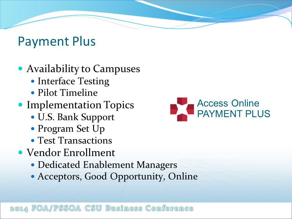 Availability to Campuses Interface Testing Pilot Timeline Implementation Topics U.S. Bank Support Program Set Up Test Transactions Vendor Enrollment D