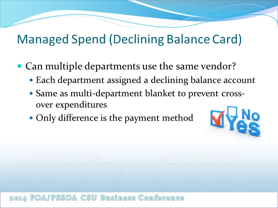 Managed Spend (Declining Balance Card) Can multiple departments use the same vendor.