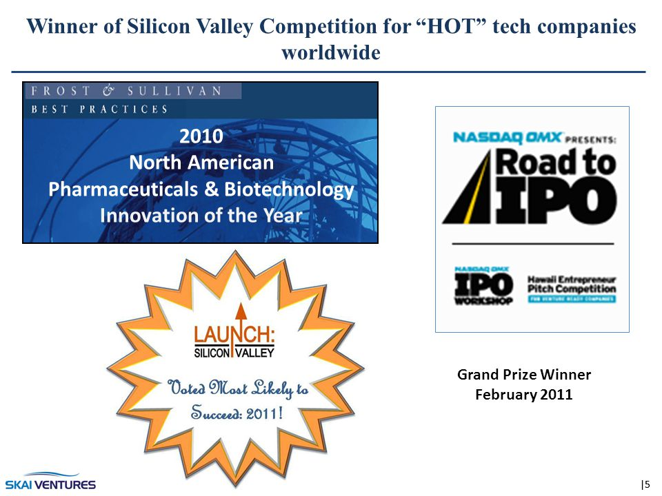 |5 2010 North American Pharmaceuticals & Biotechnology Innovation of the Year Grand Prize Winner February 2011 Winner of Silicon Valley Competition for HOT tech companies worldwide