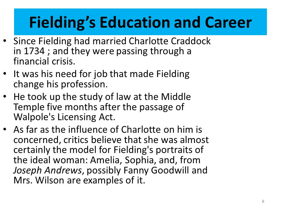 Fielding's Education and Career Since Fielding had married Charlotte Craddock in 1734 ; and they were passing through a financial crisis. It was his n