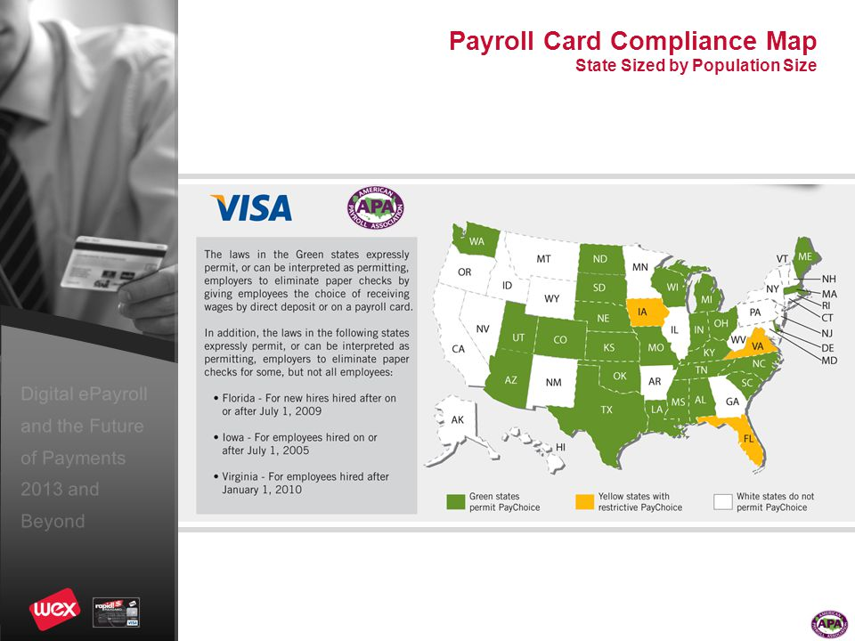 Digital ePayroll and the Future of Payments 2013 and Beyond Payroll Card Compliance Map State Sized by Population Size