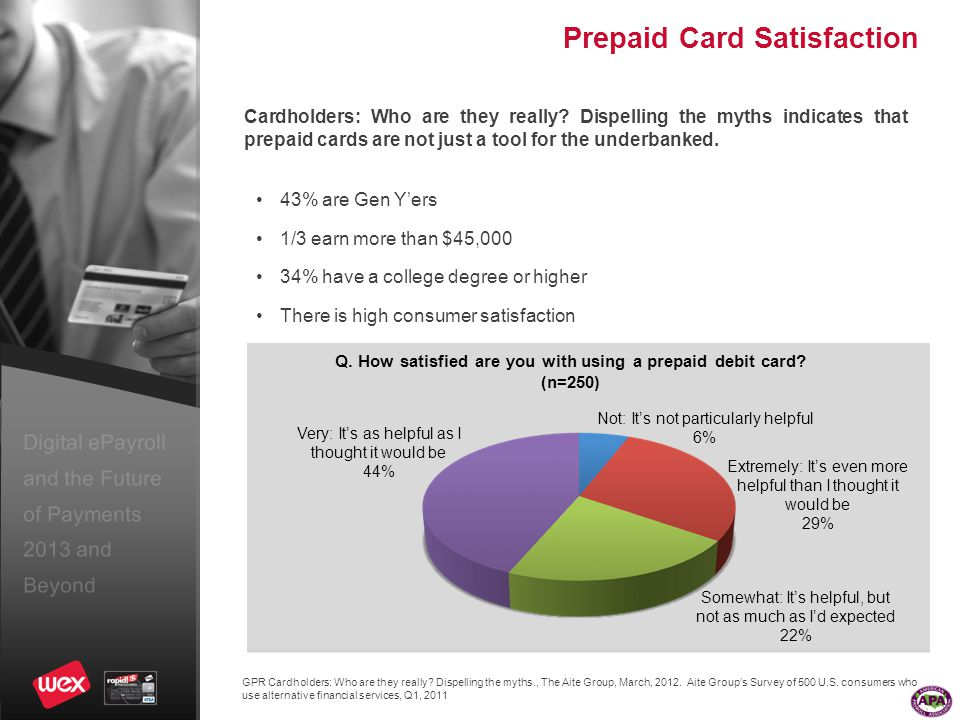 Digital ePayroll and the Future of Payments 2013 and Beyond Prepaid Card Satisfaction GPR Cardholders: Who are they really.