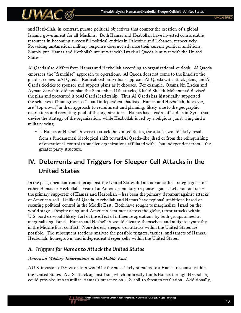 - Urban Warfare Analysis Center 1821 Airport Rd. Shawnee, OK 74804 (405) 273-3035 ThreatAnalysis: HamasandHezbollahSleeperCellsintheUnitedStates and H