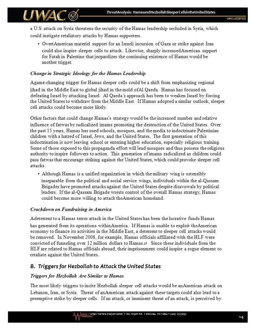 - Urban Warfare Analysis Center 1821 Airport Rd. Shawnee, OK 74804 (405) 273-3035 ThreatAnalysis: HamasandHezbollahSleeperCellsintheUnitedStates a U.S