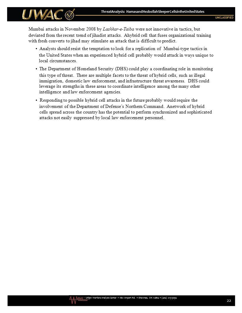 - Urban Warfare Analysis Center 1821 Airport Rd. Shawnee, OK 74804 (405) 273-3035 ThreatAnalysis: HamasandHezbollahSleeperCellsintheUnitedStates Mumba