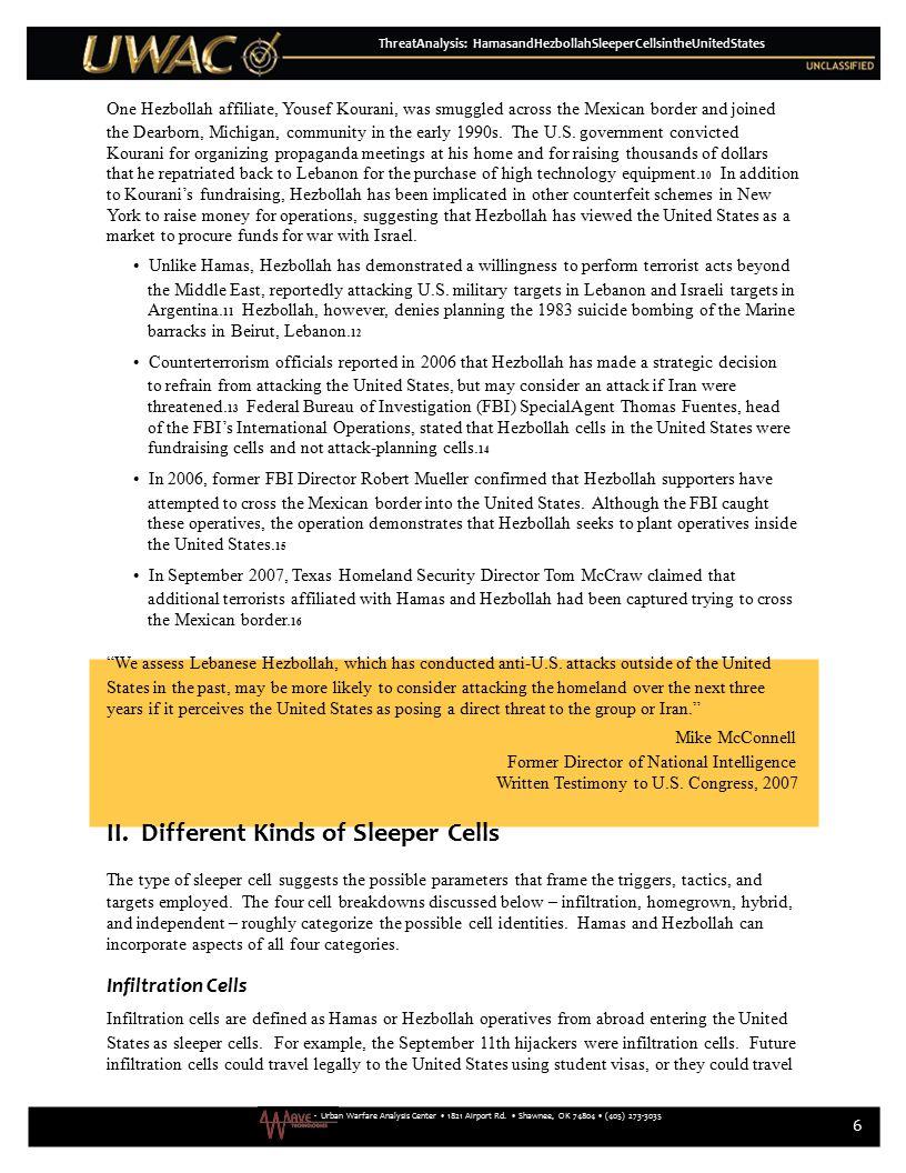 - Urban Warfare Analysis Center 1821 Airport Rd. Shawnee, OK 74804 (405) 273-3035 6 ThreatAnalysis: HamasandHezbollahSleeperCellsintheUnitedStates One