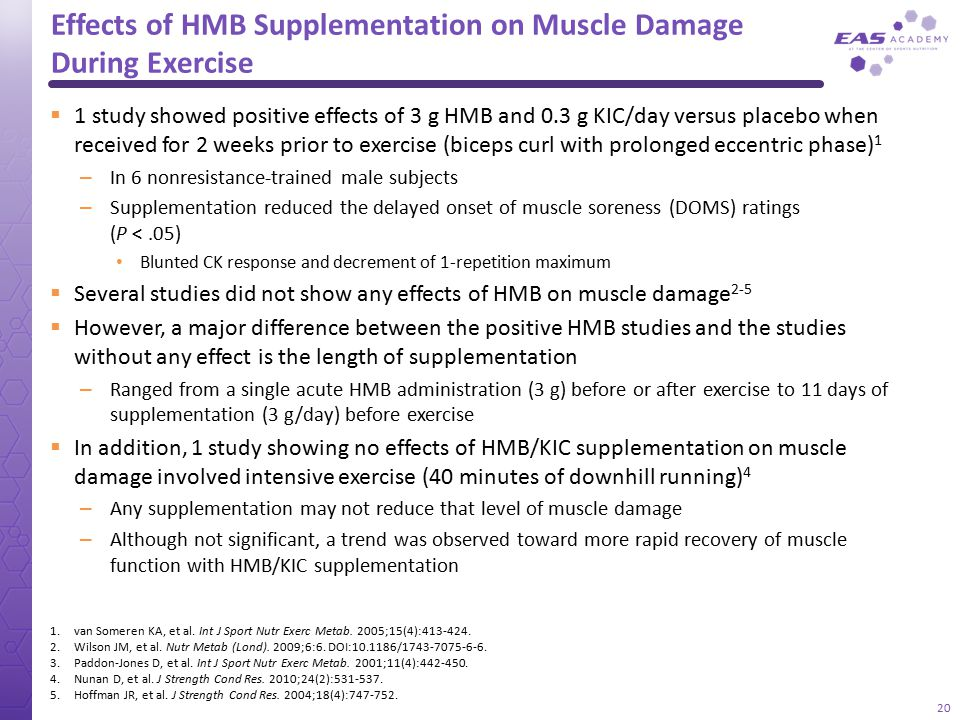 Effects of HMB Supplementation on Muscle Damage During Exercise  1 study showed positive effects of 3 g HMB and 0.3 g KIC/day versus placebo when rec