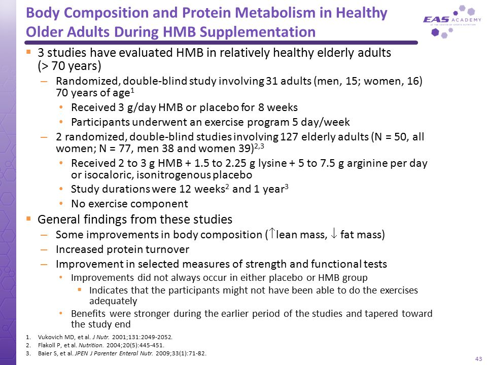Body Composition and Protein Metabolism in Healthy Older Adults During HMB Supplementation  3 studies have evaluated HMB in relatively healthy elderl