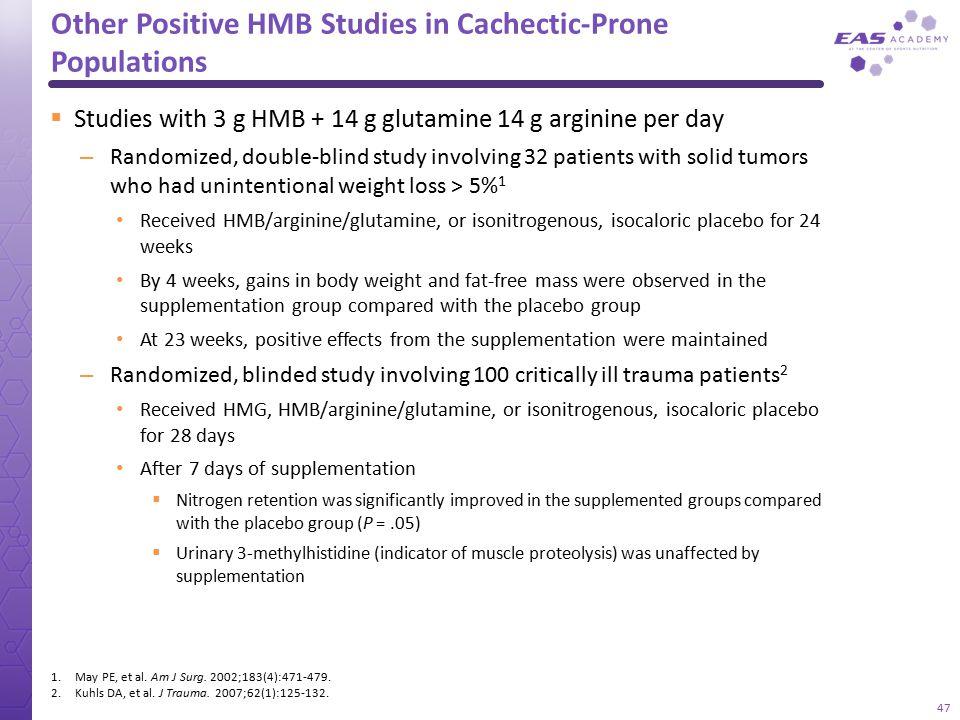 Other Positive HMB Studies in Cachectic-Prone Populations  Studies with 3 g HMB + 14 g glutamine 14 g arginine per day – Randomized, double-blind stu